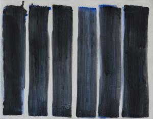 Blaue Spur auf weisser Mineralfarbe - 2012 - Mineralfarbe auf Leinwand - 100 cm x 132 cm