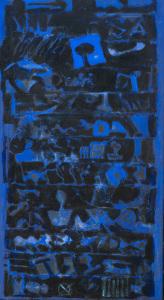 Matt in Blau und sonst glänzend 2012 - Mischtechnik auf Leinwand - 133 cm x 75 cm