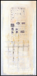 Bildnis mit TV-Schaltplan 1995 - Papier, collagiert auf Leinwand - 170 x 85 cm