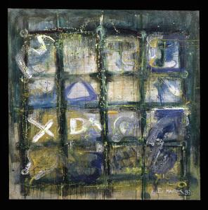 Weiß über grünem Grund  - 1993 - Mischtechnik auf Leinwand - 170 x 170 cm