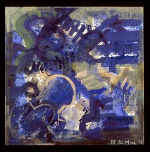 Symbolik über bewegtem Grund - 1993 - Mischtechnik auf Leinwand - 160 cm x 160 cm