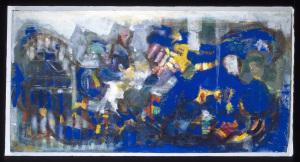 Breitformat-Blau - 1995 - Mischtechnik auf Leinwand - 110 cm x 200 cm - Privatbesitz
