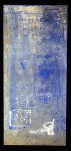 Monochrom in Weiß und Blau 1995 - Mischtechnik auf Leinwand - 210 x 100 cm