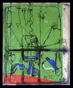 Malerei auf Grün und Rot II 1998 - Mischtechnik auf Leinwand - 119 x 98,5 cm