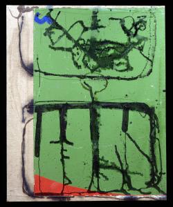 Malerei auf Grün und Rot I 1998 - Mischtechnik auf Leinwand - 119 x 98,5 cm