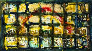 Roter Bogen - 1998 - Mixed Media auf Leinwand - 91cm x 170 cm