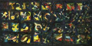 Flieger über Remscheid I - 1989 - Mixed Media auf Leinwand - 85 cm x 170 cm
