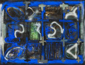 Weißgesprüht über Blau - 2004 - Mixed Media auf Leinwand - 100 cm x 130 cm