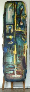 Liegestuhl 2 - 1990 - 190cm x 57cm - Stahlrohrrahmen und Textil, bemalt