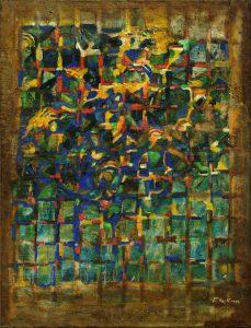 Blaues Gitter- 1989 - Mischtechnik auf Leinwand - 70 cm x 102 cm